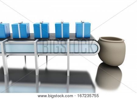 3d renderer image. Conveyer belt with gift boxes. Isolated white background.
