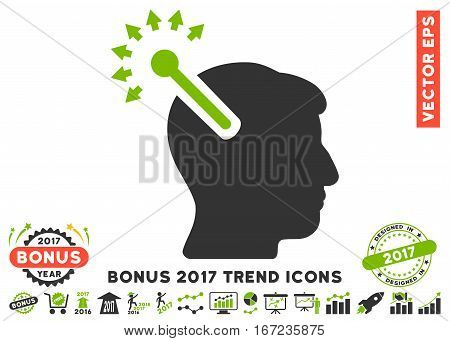 Eco Green And Gray Optical Neural Interface icon with bonus 2017 trend pictograph collection. Vector illustration style is flat iconic bicolor symbols, white background.