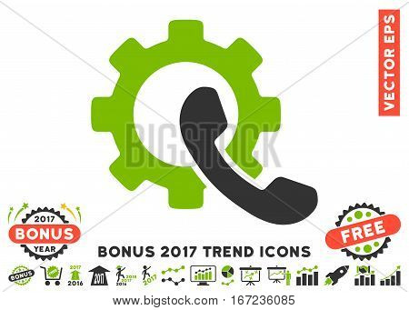 Eco Green And Gray Phone Configuration icon with bonus 2017 year trend icon set. Vector illustration style is flat iconic bicolor symbols, white background.