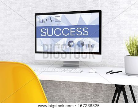 3D illustration. Modern workspace and computer with word SUCCESS. Technology and business concept.