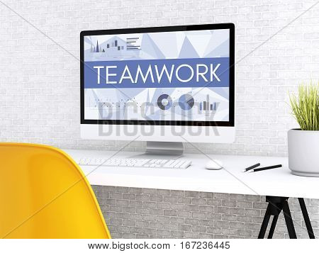 3D illustration. Modern workspace and computer with words TEAM WORK. Technology and business concept.