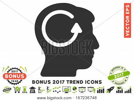 Eco Green And Gray Refresh Head Memory pictogram with bonus 2017 year trend pictograms. Vector illustration style is flat iconic bicolor symbols, white background.