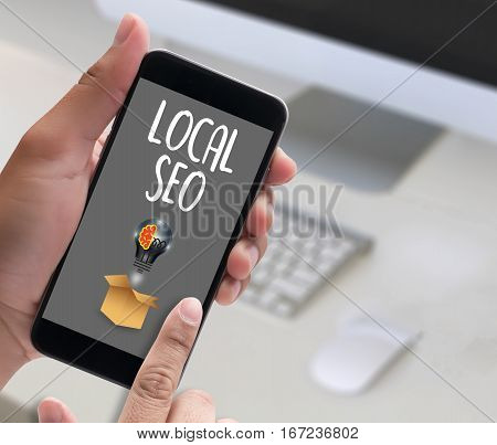 LOCAL SEO ad, advertising, announce, blurred, business