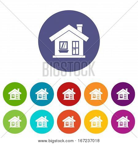 One-storey house with a chimney set icons in different colors isolated on white background