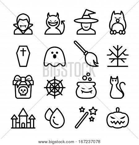 Halloween icon set in thin line style