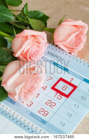 8 March card - peach roses over the calendar with framed 8 March date
