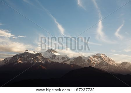 Panoramic View Of Chain Of Mountains With Snowy Peaks In Sagarmatha National Park, Everest Region, N
