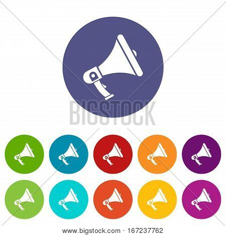 Megaphone set icons in different colors isolated on white background