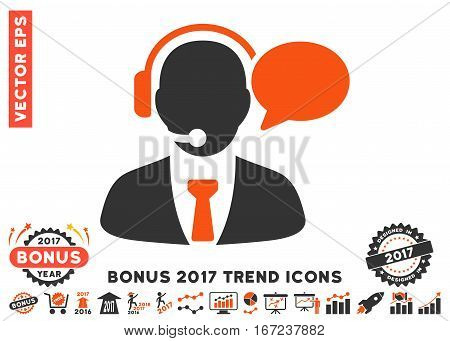 Orange And Gray Support Manager Message icon with bonus 2017 trend design elements. Vector illustration style is flat iconic bicolor symbols, white background.