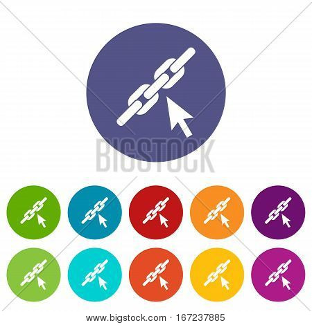Chain link set icons in different colors isolated on white background
