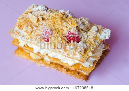 Costrada Or Millefeuille With Cream Custard Raspberries And Icing Sugar