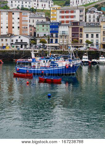traditional asturian fishing boat moored in Luarca harbor. Luarca Asturias Spain