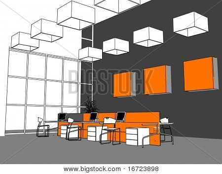 the modern office interior (cartoon style rendering)