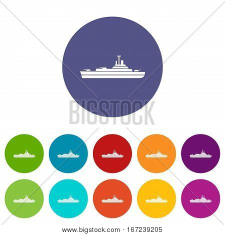Warship set icons in different colors isolated on white background