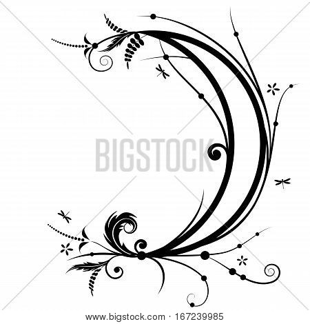 vector illustration with flower and new moon in black and white