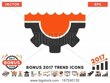 Orange And Gray Water Service Gear pictograph with bonus 2017 trend pictures. Vector illustration style is flat iconic bicolor symbols, white background.