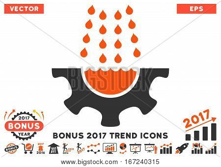 Orange And Gray Water Shower Service Gear pictogram with bonus 2017 year trend pictures. Vector illustration style is flat iconic bicolor symbols, white background.