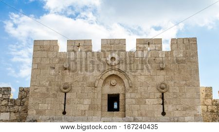 Tower of Herod's Gate or Flowers Gate decorated with stone rosettes Old City of Jerusalem Israel