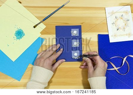 Craft greeting card. Income from hobbies. Home based business.