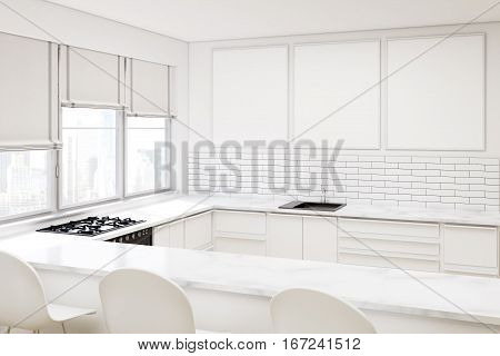 White Kitchen With Three Posters
