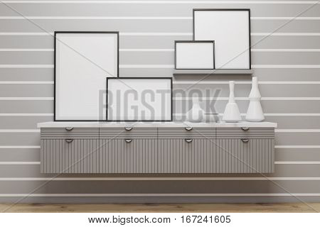 Room With Drawers And Posters, Gray Wall