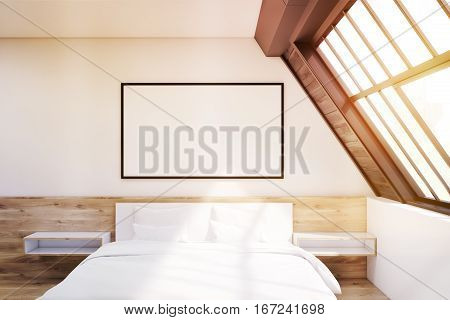 Front View Of Attic Bedroom With Poster, Toned