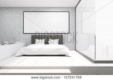 Home Office With A Glass Wall In A Bedroom