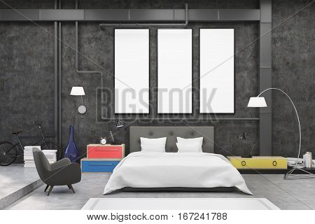 Bedroom interior with black walls and three narrow vertical posters on them. There is a large bed an armchair two lamps and colorful bedside tables. 3d rendering. Mock up
