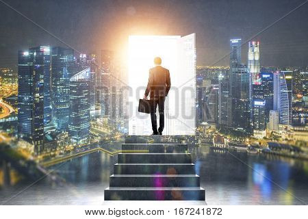 Pathway of opportunity. Back view of businessman exiting abstract night city room with stairs to enter open door with bright light. Success concept poster