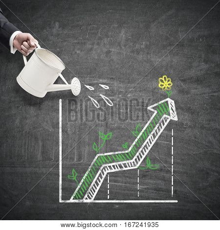 Hand watering creative business graph on chalkboard background. Financial growth concept