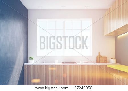 Kitchen With Black Walls And Yellow Bar, Toned