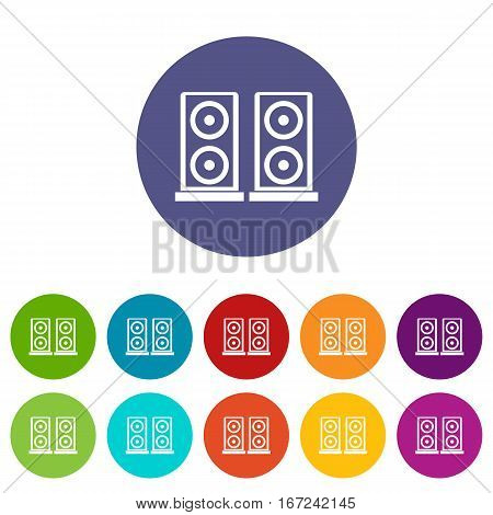 Music speakers set icons in different colors isolated on white background