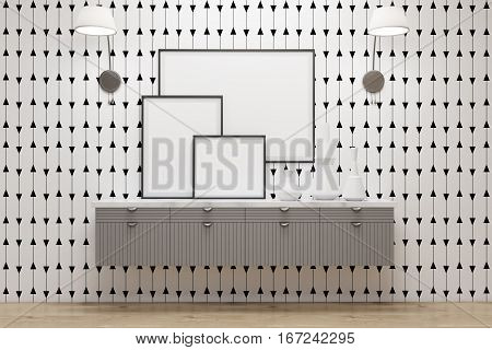 Room With Drawers, Lamps And Posters, White Wall