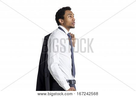 African American Businessman, Side View, Isolated