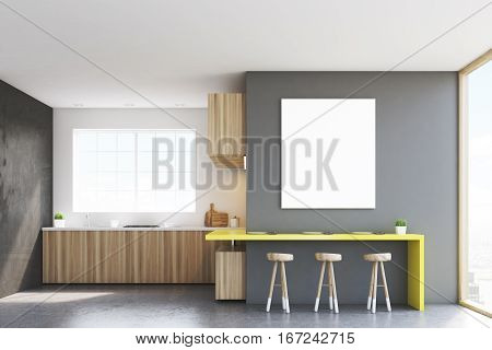 Front View Of Kitchen Countertop And Poster
