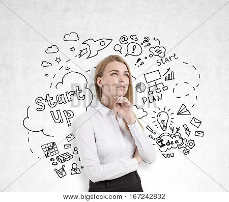 Pensive european woman on concrete background with creative business sketch. She is thinking about startups