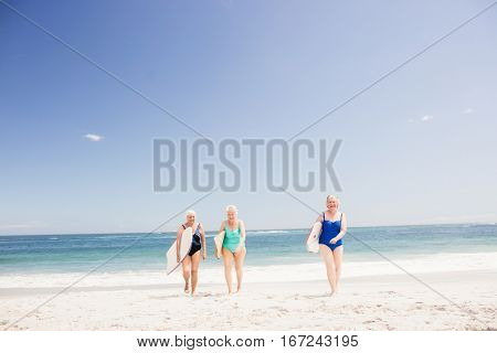 Senior woman friends holding surfboard on the beach