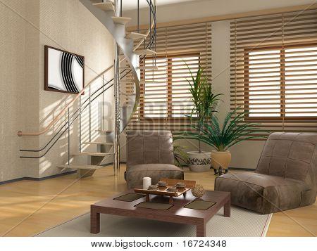 modern interior (3D rendering )