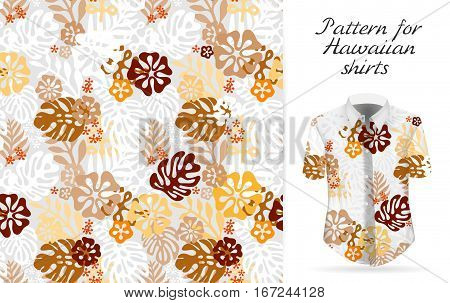 Tropical aloha pattern. Vector Hawaiian exotic flowers pattern on shirt mockup. Vector plants and flowers seamless background. Brown orange color tropical florals.