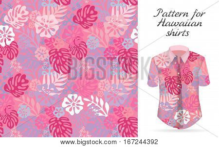 Tropical aloha pattern. Vector Hawaiian exotic flowers pattern on shirt mockup. Vector plants and flowers seamless background. Pink color tropical florals.