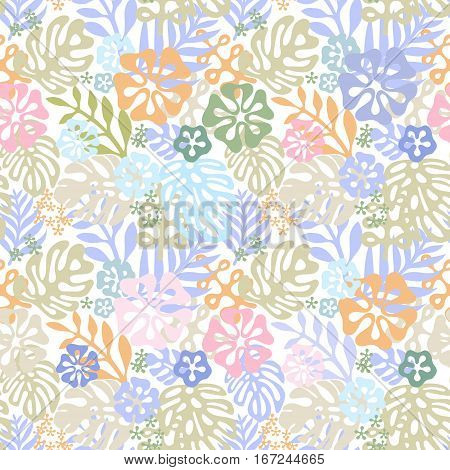 Vector tropical flowers patten. Seamless design with simple botanical elements of paradise. Aloha Hawaii vector editable file. Pastel tone colors on white background