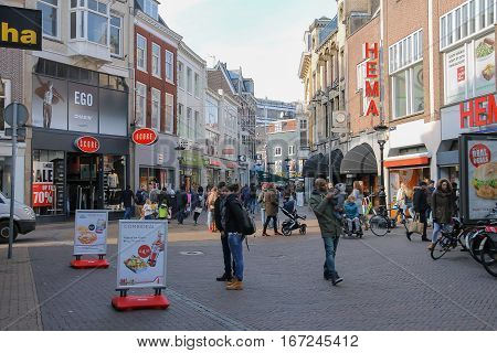 Utrecht the Netherlands - February 13 2016: People walking in historic city centre