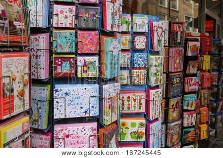 Utrecht the Netherlands - February 13 2016: Exhibition sale of greeting cards in a city shop