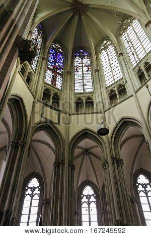Utrecht the Netherlands - February 13 2016: Details of the interior of St. Martins Cathedral (Domkerk)