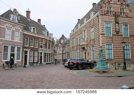 Utrecht the Netherlands - February 13 2016: People on the old streets in historic city centre