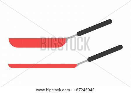 Cartoon pan cooking steel home kitchen equipment vector illustration. Food dinner preparing handle metal kitchenware restaurant fry domestic tool.
