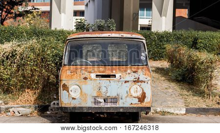 Rusted, carcass, old, abandoned, Net Van.Thailand car