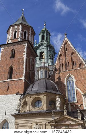Wawel Cathedral - coronation place of Polish kings- on Wawel Hill Krakow Poland.