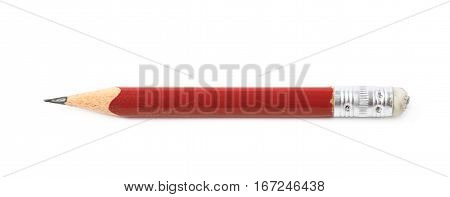 Well worn red pencil with an eraser isolated over the white background