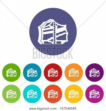 Kimchi, traditional korean food set icons in different colors isolated on white background